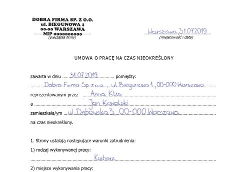 Umowa o prace na czas nieokreślony - inEwi
