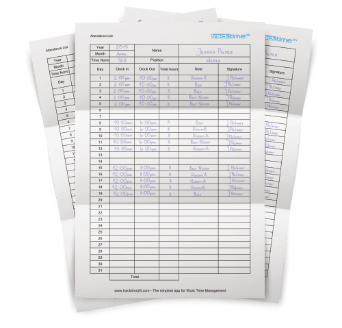 Employee Attendance Sheet (Excel & PDF) [Download] - TrackTime24