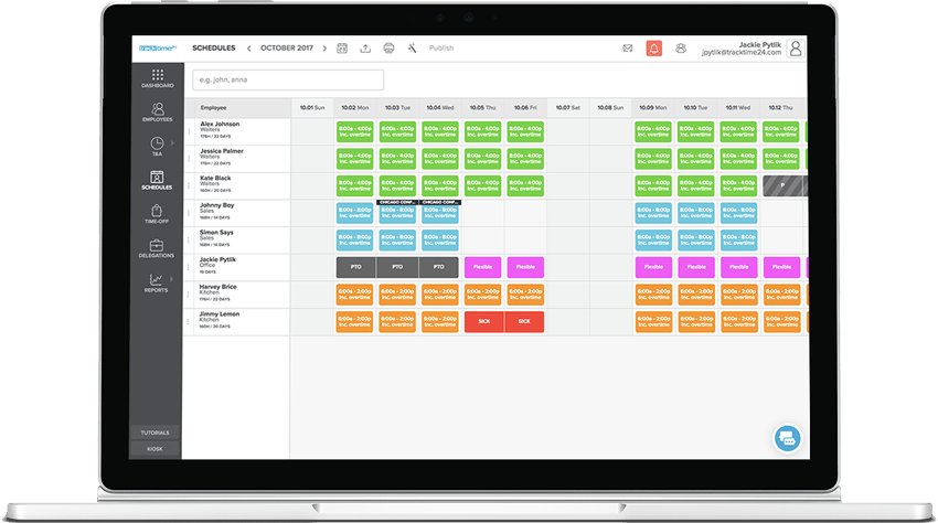 staff scheduling with time tracking absence and business travel